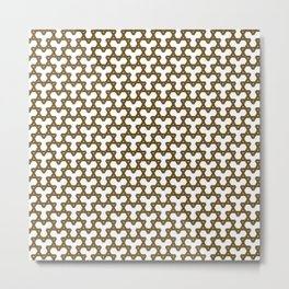 Brown Triangles on White Metal Print
