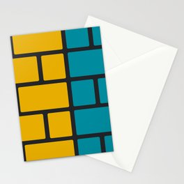Colorful Bricks - yellow and blue Stationery Cards
