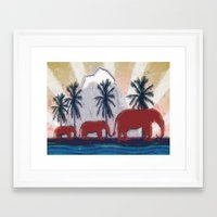 elephants Framed Art Prints featuring Elephants by LoRo  Art & Pictures