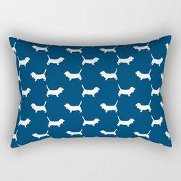 Basset Hound silhouette navy and white dog art dog breed pattern simple minimal Rectangular Pillow