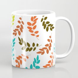 Colorful Leaves, Leaf Pattern - Blue Orange Green Coffee Mug