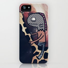Half Man/Half Fish Riding a Giraffe in Space iPhone Case