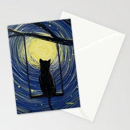 starry cat night Stationery Cards