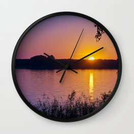 Beautiful sunset over the lake Wall Clock