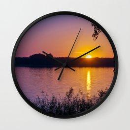 Beautiful sunset over the lake Wall Clock