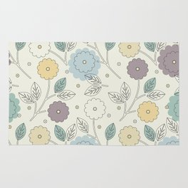 Decorative seamless pattern with stylish flowers and leaves Rug