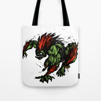 street fighter Tote Bags featuring Blanka Rush! - Street Fighter by Peter Forsman