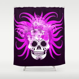 hippie skull,pink Shower Curtain