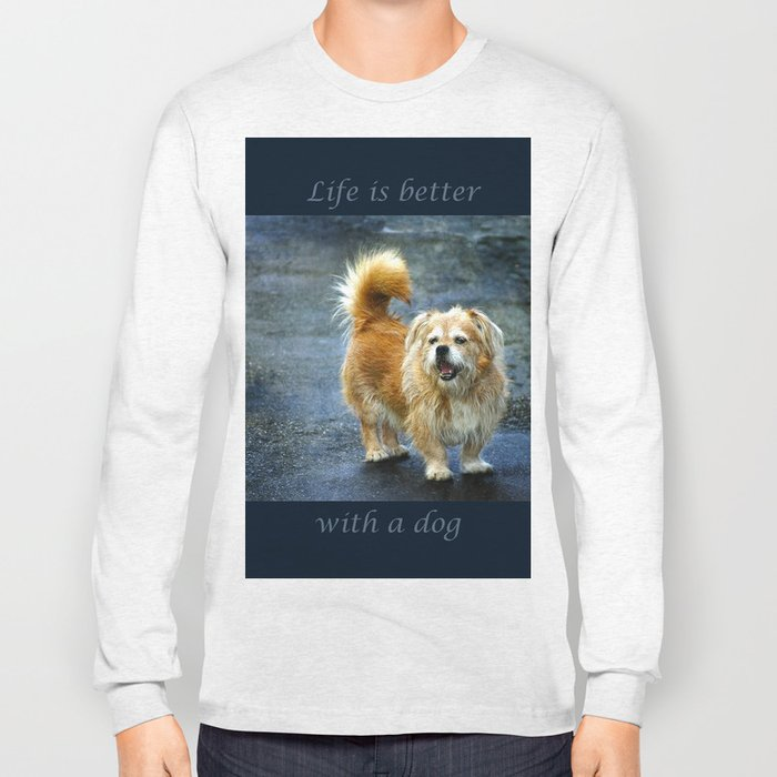 Small dog on the street Long Sleeve T-shirt