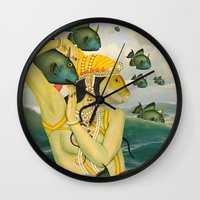 mermaid Wall Clocks featuring MERMAID by Julia Lillard Art