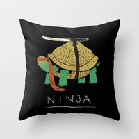 ninja turtle Throw Pillows featuring ninja by Louis Roskosch
