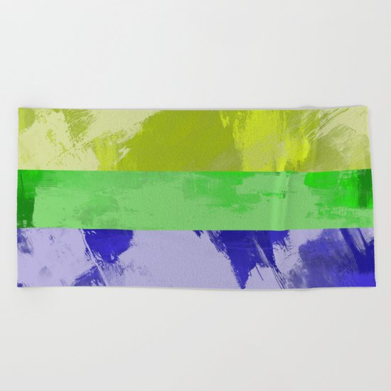 Rainbow Stripes - Abstract, textured, red, orange, yellow, green, blue, indigo, violet artwork Beach Towel