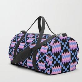 Cornflower Blue, Carnation Pink, Lavender Purple Kente Cloth on Black Duffle Bag