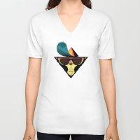 ape V-neck T-shirts featuring Ape by Mikhail Kalinin