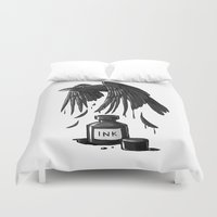 raven Duvet Covers featuring Ink Raven by Freeminds