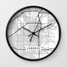 Lubbock Map, USA - Black and White Wall Clock