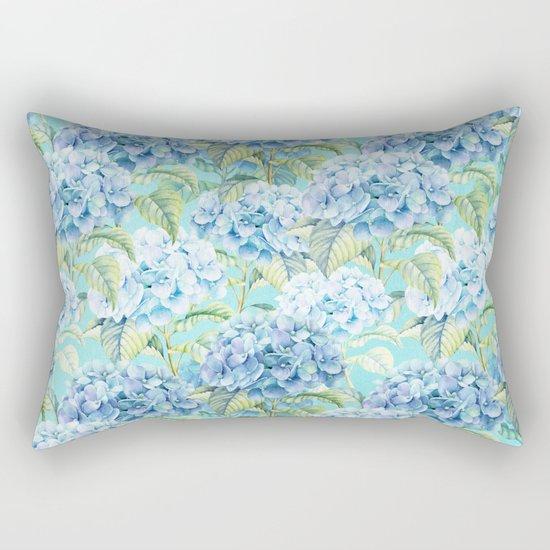 Blue floral hydrangea flower flowers Vintage watercolor pattern Rectangular Pillow