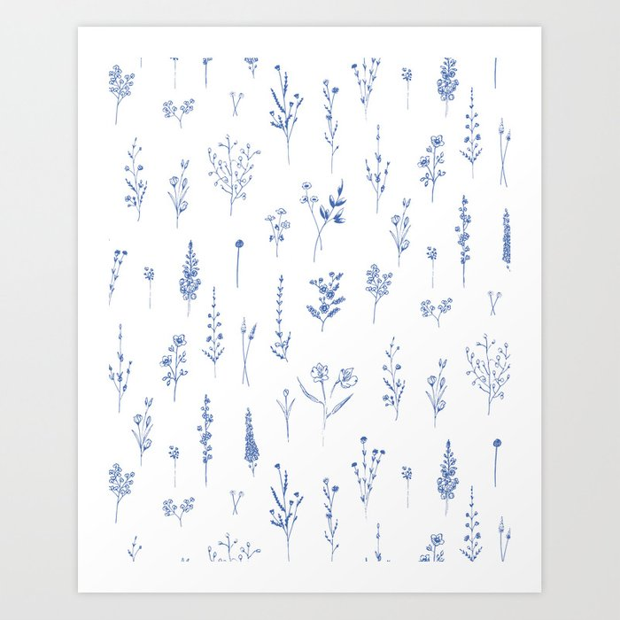 Wildflowers in blue Art Print
