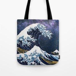 """Hokusai,"""" The Great Wave off Kanagawa + Milky Way Galaxy """" Tote Bag"""