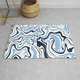 Navy Blue + White | Holmby Marble Pattern Rug