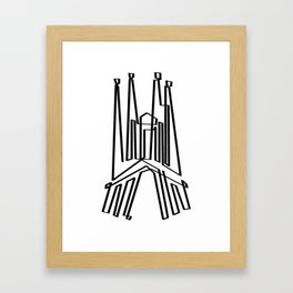 Sagrada Familia in one draw (black version) Framed Art Print