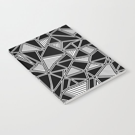Abstract Outline Lines Black Notebook