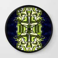 moulin rouge Wall Clocks featuring Moulin Vert by Carter Herrington