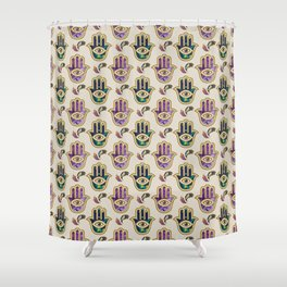 Hamsa Hand pattern - marble, amethyst and gold Shower Curtain