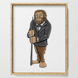 Funny bigfoot shirt - billiards and snooker lover Serving Tray