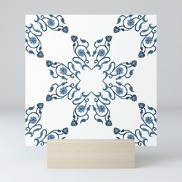Blue Floral Heart Tile Mini Art Print