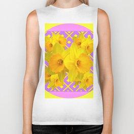 Golden Yellow Daffodils Bouquet Garden Lilac Art Biker Tank