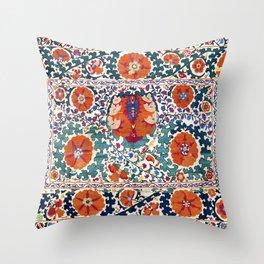 Shakhrisyabz Suzani Uzbekistan Antique Rug Throw Pillow