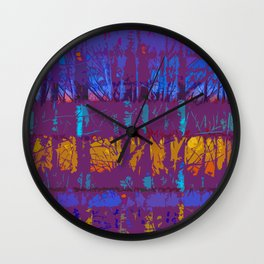 Tropical Abstract Trees in Purple and Gold Wall Clock