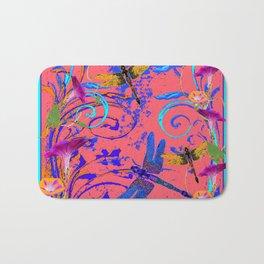 Decorative Abstract Blue Dragonflies Nature Landscape Bath Mat