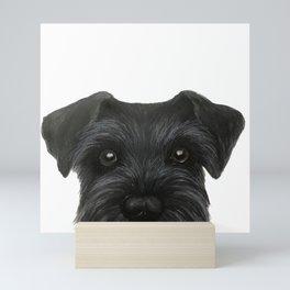 Schnauzer-black Dog illustration original painting print Mini Art Print