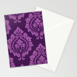 Decorative Damask Art I Light on Dark Plum Stationery Cards