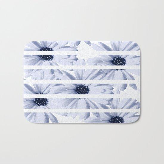 Light Blue Daisies with White Stripes Bath Mat