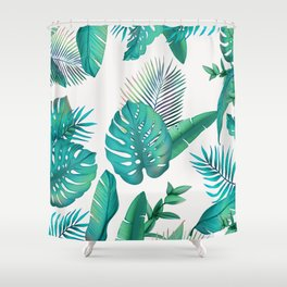 Tropical leafs pattern Shower Curtain