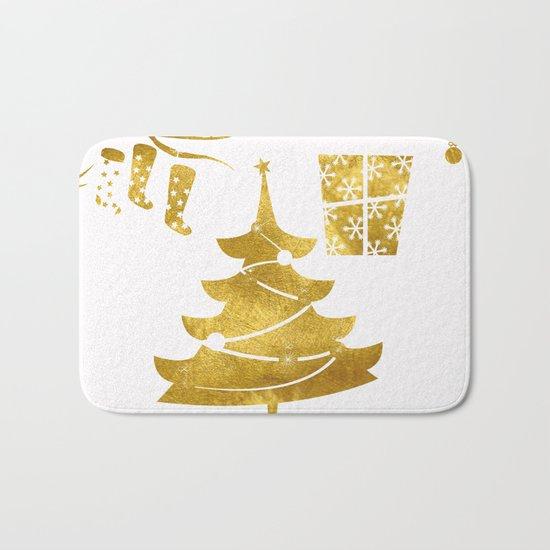 Gold Christmas 03 Bath Mat