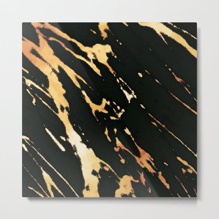 Black Copper Bronze Marble Metal Print