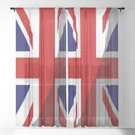 Shadow Union Jack Flag Sheer Curtain