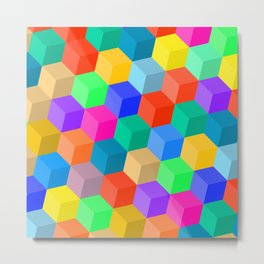 Crayon Colored Perspective Cubes Metal Print