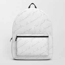 Vintage chic gray white hand painted typography Backpack