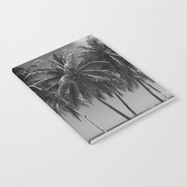Black And White Palm Trees On The Beach Notebook