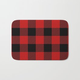 Western Country Woodland Christmas Cottage Primitive lumberjack Buffalo Plaid Bath Mat