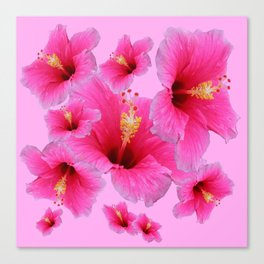 GIRLY TROPICAL PINK HIBISCUS ART Canvas Print