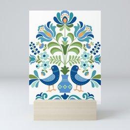 Hungarian Folk Design Blue Birds Mini Art Print