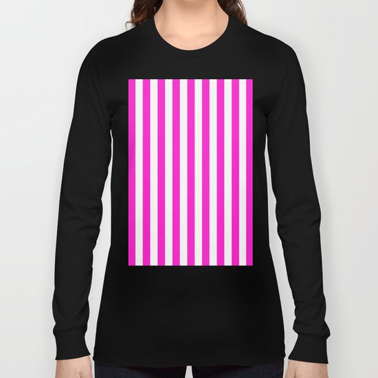Vertical Stripes (Hot Magenta/White) Long Sleeve T-shirt