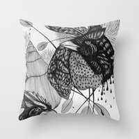 sketch Throw Pillows featuring Sketch by Cat Sims
