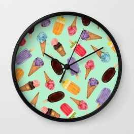 Pastel green Ice Cream cones Pattern | Ice cream and popsicle summer pattern Wall Clock